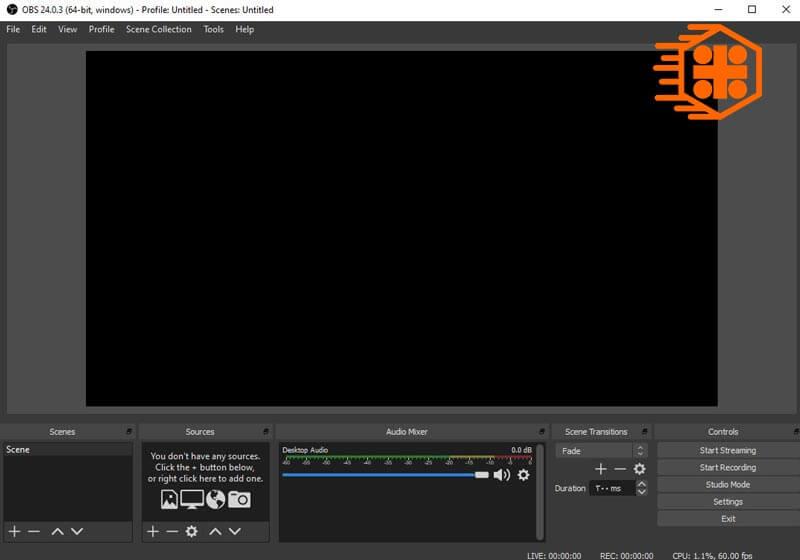 محیط اولیه نرم افزار OBS Studio برای استریم PS4 در سرویس آپارات